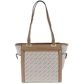 8434661b8152 Jones New York Womens Tory Tote Handbag Faux Leather Logo - Medium