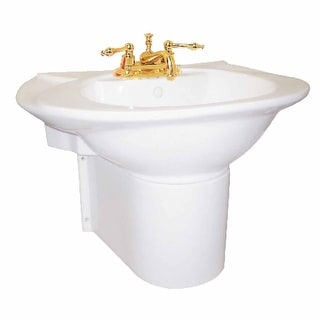 Half Basin Pedestal Sink Wall Mount Bathroom Basin White