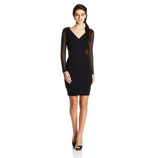 French Connection Liv Jersey Long Sleeve Fitted Dress Black 6