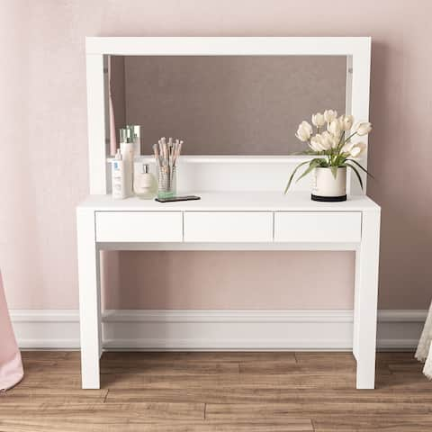 Boahaus Calypso Dressing Table, White, 3 drawers, wide mirror