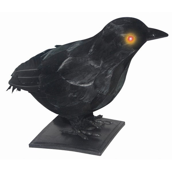 Realistic Crow w/ Light-Up Eyes & Sound Halloween Prop