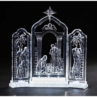 """10"""" Icy Crystal LED Lighted Religious Christmas Nativity Triptych Decoration"""