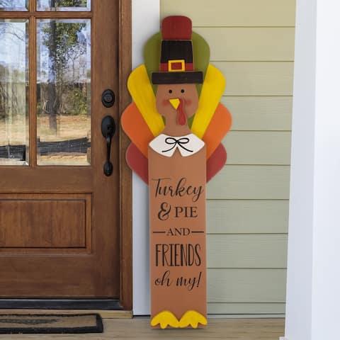 """Glitzhome 40""""H Thanksgiving Wooden Turkey Standing Decor"""