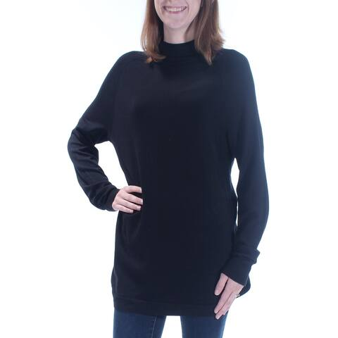KENSIE Womens Black Zippered Dolman Sleeve Turtle Neck Top Size: S
