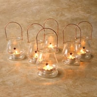 Make a Wish Glass Tea Light Lanterns - Set of 6 Candle Holders