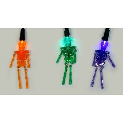 Set of 20 Purple Orange and Green LED Skeleton Halloween Lights - Black Wire