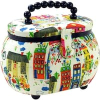 """Sewing Basket Oval-9.5""""X6.75""""X7.25"""" Colorful Building Print"""