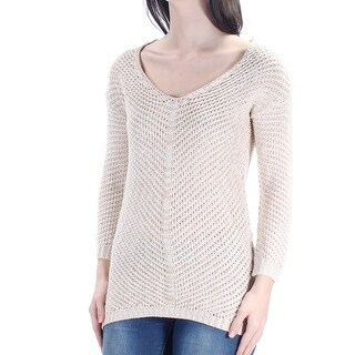 Womens Beige Long Sleeve V Neck Casual Sweater Size 2XS