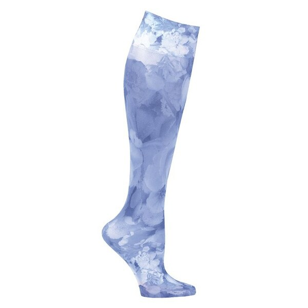 Celeste Stein Moderate Compression Knee High Stockings Wide Calf-Blue Flowers - Medium