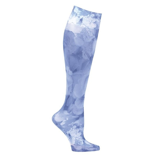 JET PARENT - Printed Mild Compression Wide Calf Knee Highs - Blue Flowers - Medium