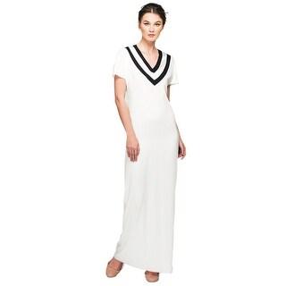 Ariana Rockefeller Silk Contrast V-Neck Tennis Maxi Dress