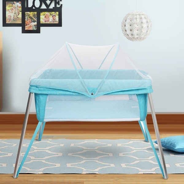 Costway Foldable Alumnium Baby Crib Bed Toddler Sleeper Nursery Mosquito Net Carry Bag - Blue