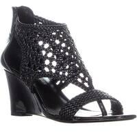 Donald J Pliner Joli Perforated Wedge Sandals, Black - 7.5 us