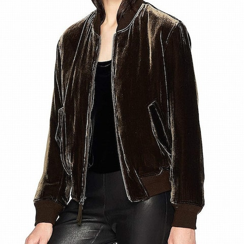 Vince Brown Womens Size Small S Zip-Front Velvet Bomber Jacket