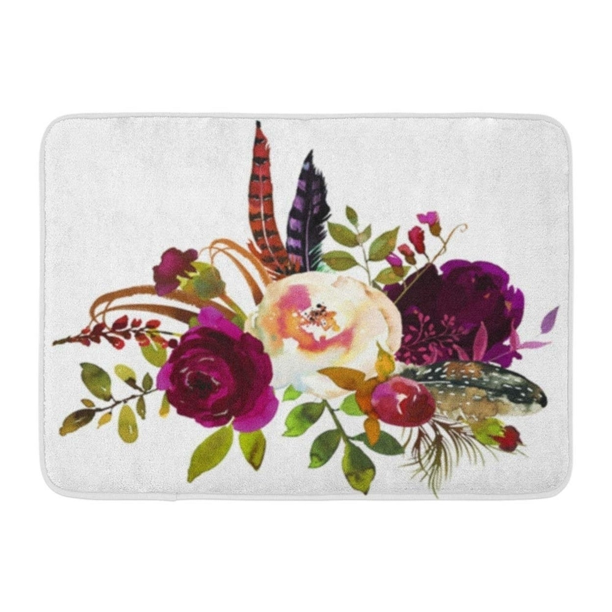 Watercolor Boho Burgundy Violet Floral Bouquet Flowers And Feathers Doormat Floor Rug Bath Mat 30x18 Inch Multi On Sale Overstock 31778080