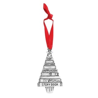 Pewter Book Tree Ornament - Christmas Tree Shape Hanging Ornament
