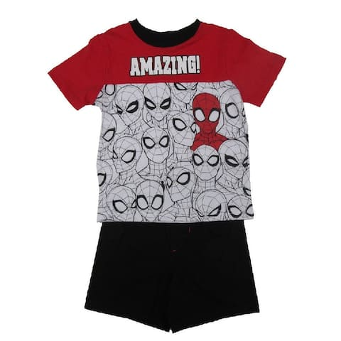 Marvel Little Boys White Red Spider Man Short Sleeve 2 Pc Outfit