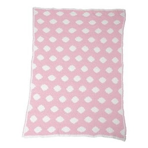 Colorado Clothing Chunky Chenille Polka Dot Baby Blanket - Kiss Pink/White - One Size