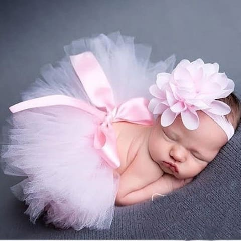 Handmade Baby Photo Props Infant Toddler Tutu Dress With Headwear