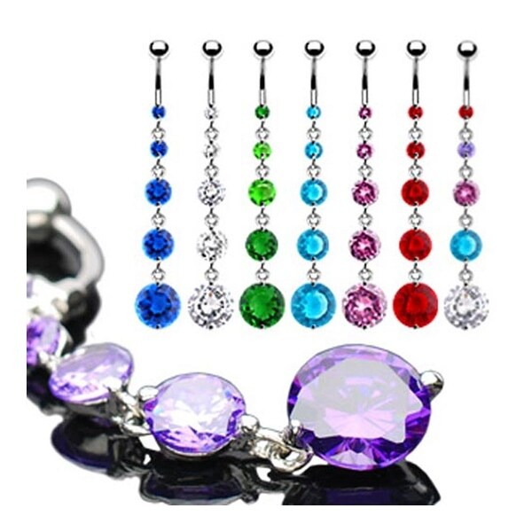 """5 Round CZ Dangle Navel Belly Button Ring - 14 GA 3/8"""" Long (Sold Ind.)"""
