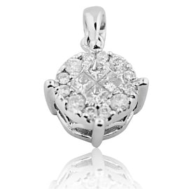 1/4cttw Diamond Pendant in 10K White Gold 13mm Tall Round Cluster (i2/i3, i/j) By MidwestJewellery
