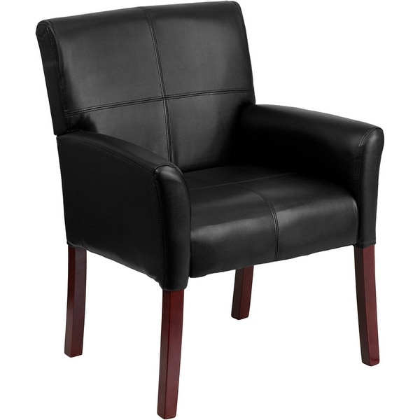 Silkeborg Black Leather Stylish Executive Side Comfortable Reception/Guest Chair w/Mahogany Legs