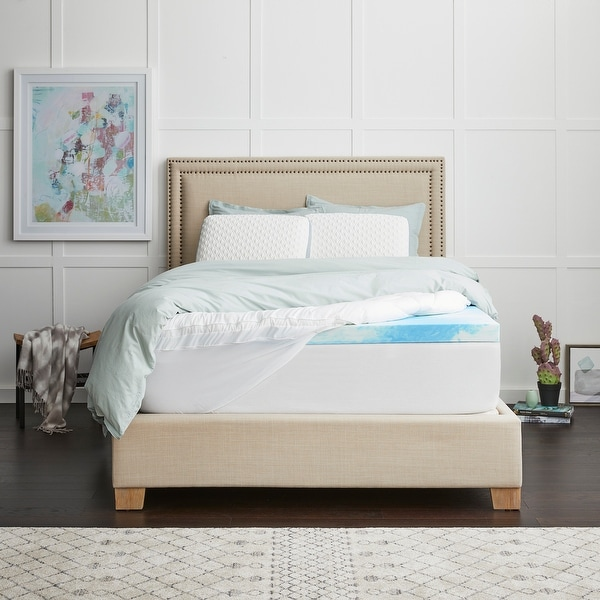 """4"""" SealyChill Gel + Comfort Memory Foam Mattress Topper with Pillowtop Cover. Opens flyout."""