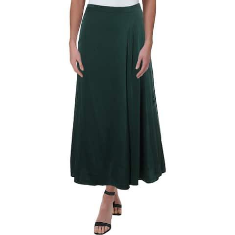 Eileen Fisher Womens Petites Godet Midi Skirt Silk Office