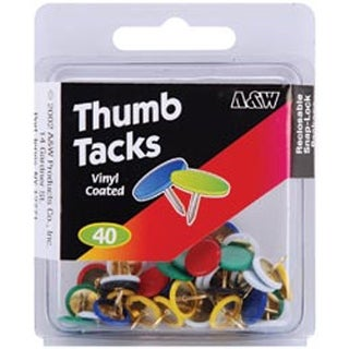 Vinyl Coated-Assorted Colors 40/Pkg - Thumb Tacks