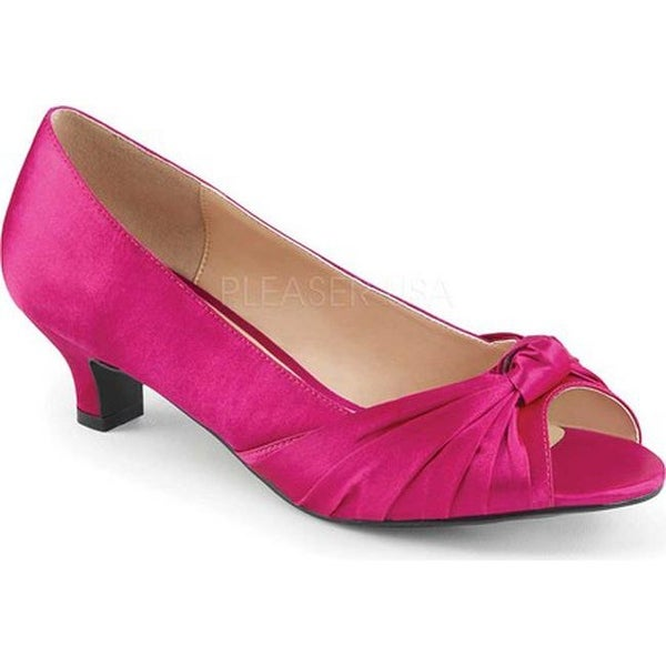Shop Pleaser Pink Label Women s Fab 422 Open-Toe Pump Hot Pink Satin - Free  Shipping Today - Overstock.com - 17734175 d9080e893b