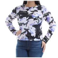 Womens Purple Floral Long Sleeve Jewel Neck Casual Top  Size  L