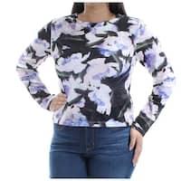 Womens Purple Floral Long Sleeve Jewel Neck Top  Size  L