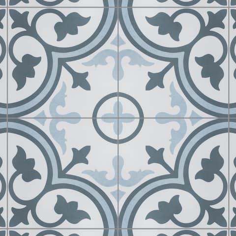"SomerTile Amberes Azul Encaustic 12.38""x12.38"" Ceramic Floor and Wall Tile (17 tiles/18.26 sqft.)"