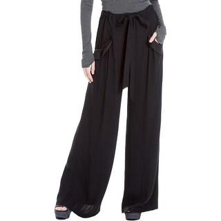 Max Studio London Womens Dress Pants Satin-Trim Wide Leg
