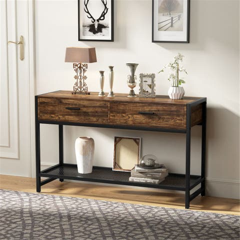 47 Console Table with 2 Drawers, Sofa Table Entry Table TV Stand with Storage Shelf - 47.2L x 15.7W
