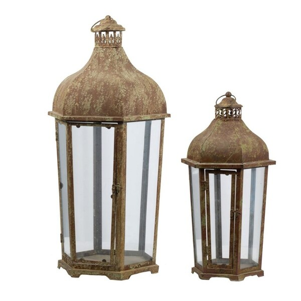 """Set of 2 Brown and White Vintage Style Carriage Candle Lanterns 31.5"""" - N/A"""