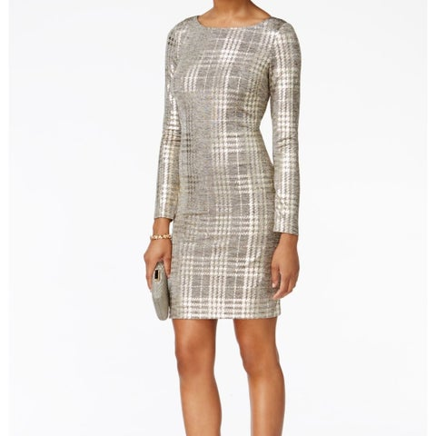 Jessica Howard Women's Metallic Plaid Sheath Dress