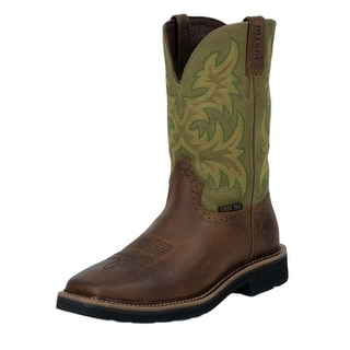 Justin Work Boots Mens Stampede Square Toe Western Brown Green WK4688