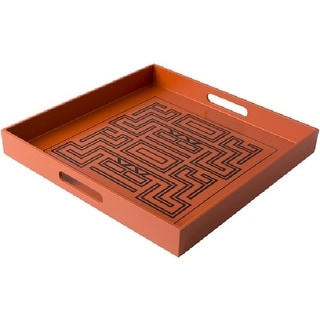 """15.5"""" Amitola Burnt Orange and Black Decorative Square Serving Tray with Handles"""