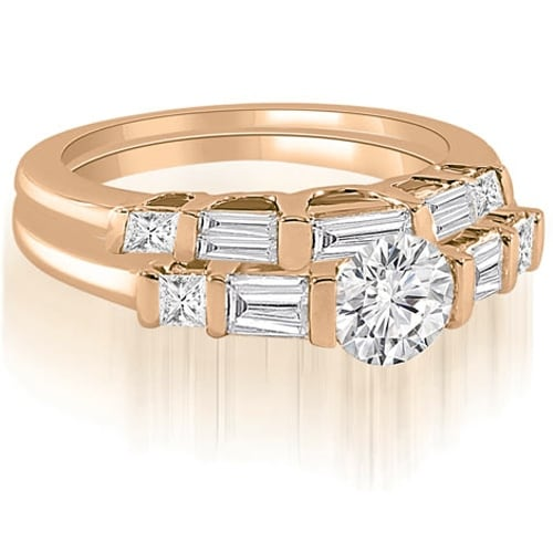 1.40 cttw. 14K Rose Gold Round And Baguette Cut U-Bar Diamond Bridal Set