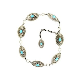 Ariat Western Belt Womens Chain Conchos Silver Turquoise A1515836