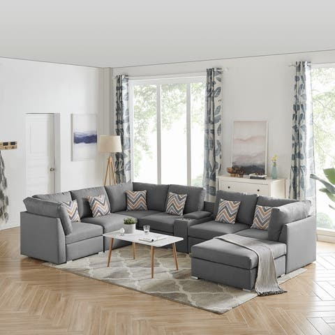 Amira Grey Fabric Reversible Modular Sectional Sofa with Ottoman