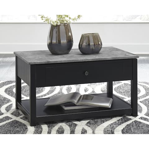 Ezmonei Casual Lift Top Cocktail Table Black/Gray