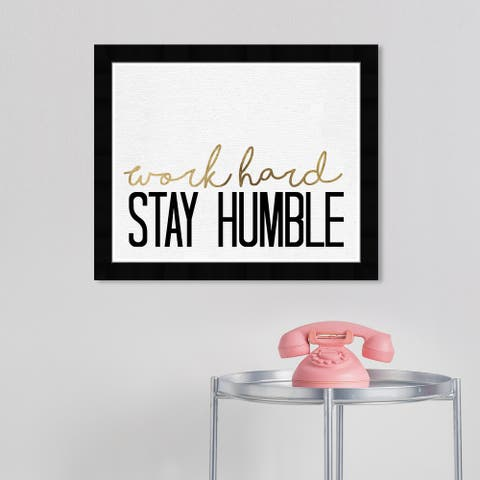 Wynwood Studio 'Stay Humble Gold' Typography and Quotes Wall Art Framed Print Inspirational Quotes and Sayings - White, Gold