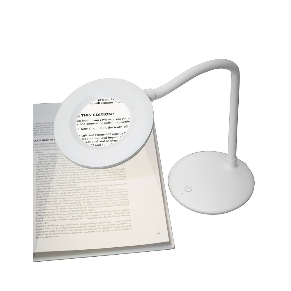 3X Magnifying Reading Lamp - Free-Standing Cordless Rechargeable LED Light for Crafting Sewing - White - 5 in. x 13 in. (White - 5 in. x 13 in. -
