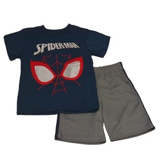 Spider Little Boys Navy Gray Spiderman Mask Printed Tee 2 Pc Shorts Set