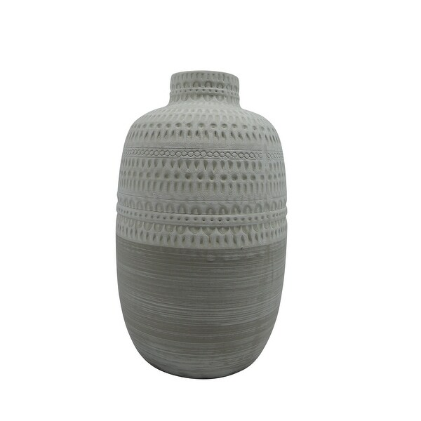 Ceramic Round Shaped Vase with Tribal Pattern, Large, White and Beige