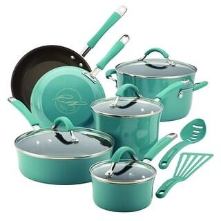 Rachael Ray 16344 Cucina Hard Enamel Nonstick 12-Piece Cookware Set, Agave Blue