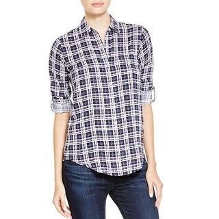 Soft Joie Womens Onyx Button-Down Top Plaid Adjustable Sleeves
