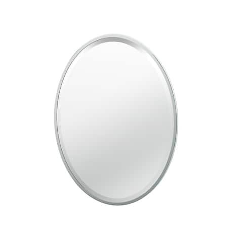 "Gatco 1820 27-1/2"" H x 20-1/2"" W Oval Flat Edge Metal Framed Mirror - Chrome"